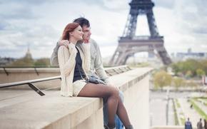 Картинка city, girl, Paris, love, woman, France, man, boy, mood, hug, Eiffel Tower, feeling, cityscape, La …