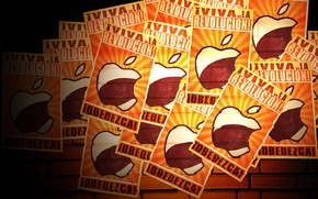 Картинка apple, логотип, mac, logo, листовка, слава революции