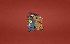 Картинка звезда, бутылка, мужик, минимализм, медведь, сигарета, напиток, ружье, красный фон, улыбки, обнимка, на веселе, тулуп, …