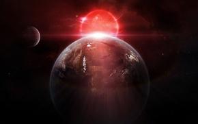 Картинка звезды, свет, сияние, восход, планета, спутники