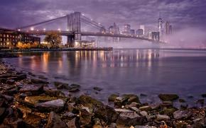 Картинка ночь, мост, огни, туман, река, дома, Нью-Йорк, залив, США, Манхэттен, набережная