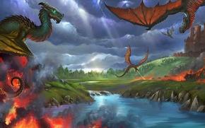 Картинка фентези, пламя, дракон, крылья, арт, полёт
