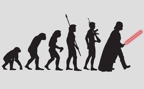 Картинка человек, робот, обезьяна, darth vader, эволюция, дарт вейдер
