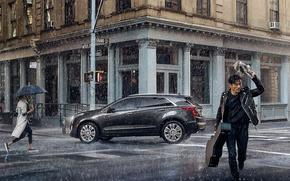 Картинка авто, люди, дождь, Город, ливень, Cadillac-XT5-Platinum.
