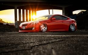 Картинка car, тюнинг, red, tuning, автообои, stance, hq wallpaper, hyundai genesis