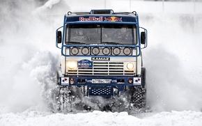 Картинка зима, снег, Paris, Russia, Red Bull, Dakar, Камаз, Kamaz Master, Чагин