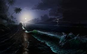Картинка море, волны, ночь, тучи, камни, пальмы, скалы, луна, побережье, молния, корабль, остров, парусник, буря, арт, …