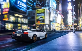 Картинка Lamborghini, Speed, New York, Murcielago, NYC, SuperVeloce, Times Square, LP670-4, Supercar