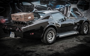 Картинка corvette, Art, chevrolet, Wall, Black, 1976, Back, Vilner, 2013, stingray