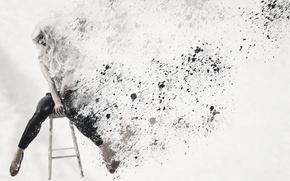 Картинка девушка, стул, разрушение