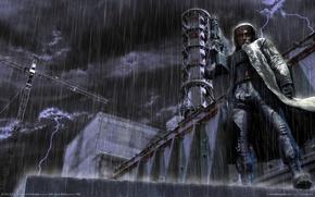 Обои shadow of chernobyl, АЭС, Сталкер, дождь, Stalker
