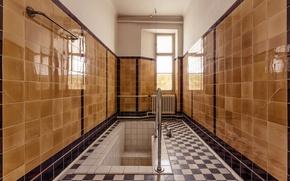 Обои зеркало, ванна, ванная комната, обогреватель, отражение, солнечный свет, окна