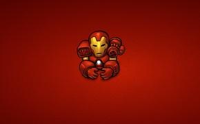 Картинка красный, сталь, минимализм, железный человек, marvel, комикс, iron man