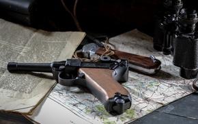 Картинка пистолет, карта, газета, бинокль, Парабеллум, P08, Люгера, Luger