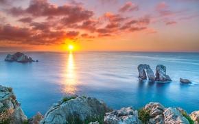 Картинка море, закат, скалы, залив, Испания, Spain, Бискайский залив, Cantabria, Кантабрия, Bay of Biscay
