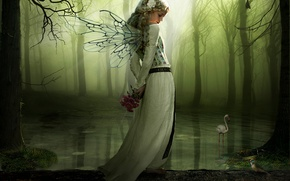 Картинка лес, девушка, цветы, озеро, крылья, бревно, сказачно