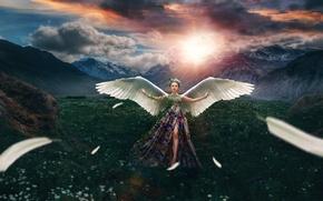 Картинка девушка, солнце, пейзаж, цветы, горы, тучи, бабочка, крылья, перья, луг, азиатка, венок