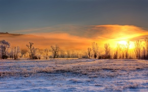 Картинка Winter, Sunrise, Conant Valley