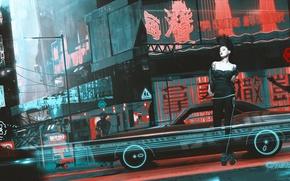 Картинка машина, кот, девушка, фантастика, улица, art, cyberpunk, punk