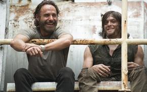 Картинка The Walking Dead, Ходячие мертвецы, Andrew Lincoln, Norman Reedus, Daryl Dixon, Рик Граймс