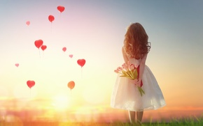 Картинка девочка, сердце, любовь, romantic, love, heart, balloon, закат