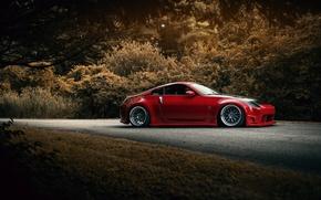 Картинка red, Nissan, 350Z, stance, обвес