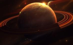 Картинка свет, планеты, луны, кольца, спутники, бесконечность