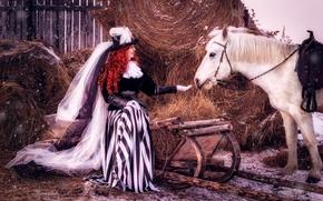 Картинка девушка, снег, конь, волосы, лошадь, шляпа, сено, наряд, рыжая, вуаль, дама, барышня