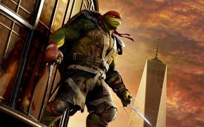 Обои оружие, постер, Черепашки-ниндзя 2, красная, Raphael, фэнтези, повязка, Teenage Mutant Ninja Turtles: Out of the ...