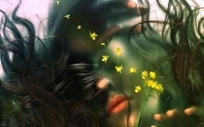 Картинка стекло, вода, девушка, цветы, волосы