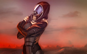 Картинка облака, планета, пыль, атмосфера, Mass Effect, Tali