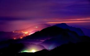 Картинка дорога, ночь, огни, холмы, вид