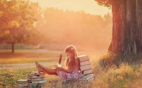 Картинка девочка, перо, творчество, книги, лето, The Letter