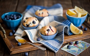 Картинка лимон, еда, завтрак, lemon, фрукты, food, fruit, sweet, кексы, breakfast, muffins, клюква, cranberries