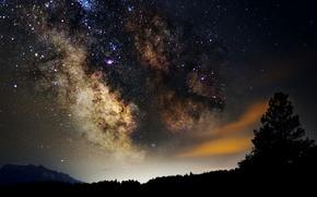 Картинка космос, звезды, ночь, пространство, млечный путь, силуэты