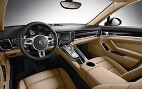 Картинка интерьер, 2015, Edition, Panamera, торпедо, кожа, порше, панамера, Porsche, руль, 970