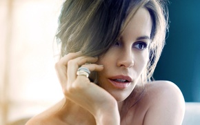 Картинка взгляд, девушка, лицо, актриса, брюнетка, Kate Beckinsale, Кейт Бекинсейл