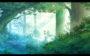 Картинка трава, лучи, свет, деревья, Лес, кусты, лисенок