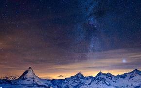 Обои небо, звезды, горы, ночь, Альпы, млечный путь