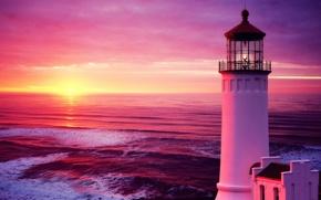 Картинка sunset, море, волны, маяк, небо, sky, закат