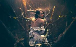Картинка лес, девушка, фантазия, арт, Shelby Robinson, In the Wake of Fear