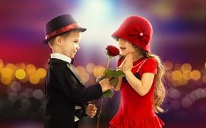 Обои любовь, детство, романтика, роза, ребенок, мальчик, пара, девочка, love, rose, День святого Валентина, retro, boy, ...