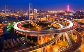 Картинка ночь, мост, город, огни, вечер, выдержка, Китай, Шанхай, Nanpu Bridge