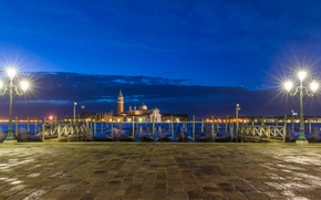 Обои лодка, Италия, церковь, Сан-Джорджо Маджоре, гондола, канал, ночь, Венеция, фонари