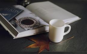 Картинка лист, кружка, чашка, белая, книга. картинка