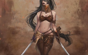 Картинка девушка, воин, сабли, Dragon Soul
