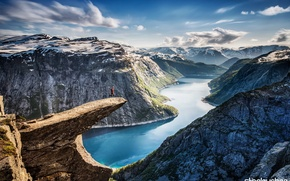 Картинка горы, природа, река, Норвегия, панорама, Язык Тролля, Trolltunga