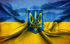 Обои флаг, Украина, герб, Україна, Ukraine