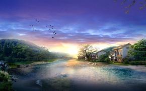 Обои дом, река, Птицы