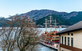 Картинка горы, озеро, корабли, Япония, Japan, mountains, lake, boarding